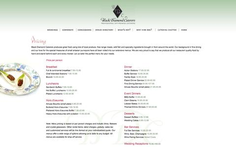 Screenshot of Pricing Page blackdiamondcaterers.com - Black Diamond Caterers -- Professional Off-Premise Caterers - captured Nov. 22, 2016