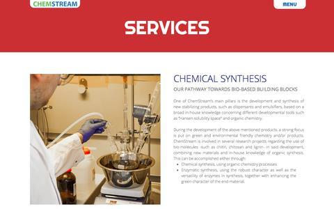 Screenshot of Services Page chemstream.be - Services - captured July 17, 2018