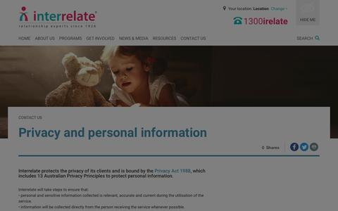 Screenshot of Privacy Page interrelate.org.au - Contact Interrelate - Interrelate - captured Oct. 15, 2017