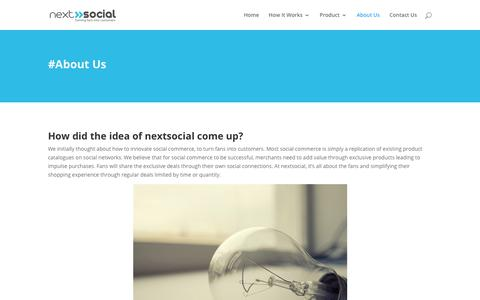 Screenshot of About Page nextsocial.io - About Us | Social Commerce and Facebook Deals - captured Sept. 28, 2018