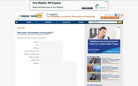 Screenshot of Contact Page labourseetlavie.com - Contact - La Bourse et la Vie Web TV - captured Sept. 24, 2014
