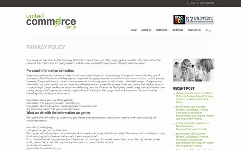Screenshot of Privacy Page unitedcommercegroup.com - Privacy Policy – United Commerce Group - captured Dec. 2, 2016