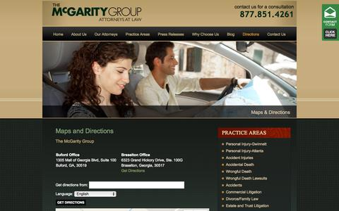 Screenshot of Maps & Directions Page themcgaritygroup.com - Map and Directions to the Buford, GA, Law firm offices of The McGarity Group - captured Sept. 30, 2014