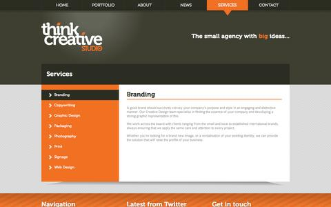 Screenshot of Services Page thinkcreative.co.uk - ThinkCreative - Services - captured Oct. 7, 2014