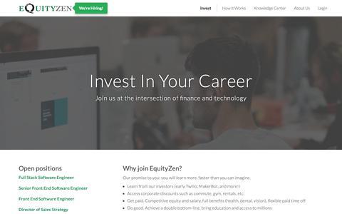 Screenshot of Jobs Page equityzen.com - Careers @ EquityZen - captured March 19, 2019
