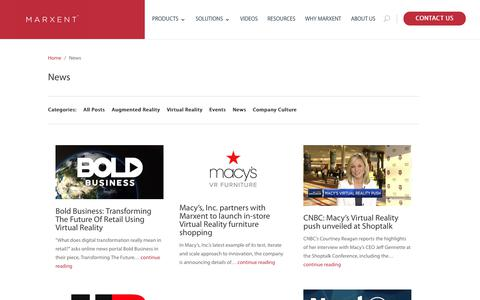 Screenshot of Press Page marxentlabs.com - News - Marxent - captured July 10, 2018