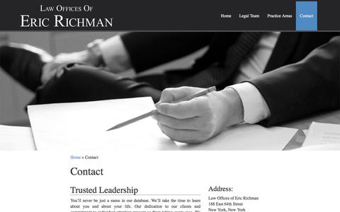 Screenshot of Contact Page richman-law.com - Personal Injury Lawyer   Upper East Side   Manhattan - captured June 20, 2016