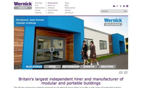Screenshot of Home Page wernick.co.uk - Modular Buildings UK, Portable Buildings Hire, Temporary Buildings | Wernick - captured Feb. 24, 2016