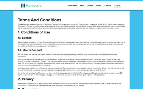 Screenshot of Terms Page memeoirs.com - Memeoirs: A Book With Your Email, Facebook and WhatsApp Conversations | Terms And Conditions - captured Sept. 16, 2014