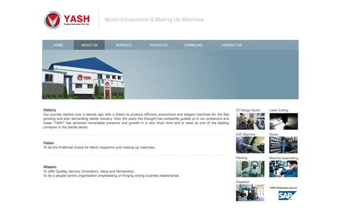 Screenshot of About Page yashtex.com - YASH -  Textile Machines Pvt. Ltd. - World of Inspection Making Machine - captured Nov. 2, 2014