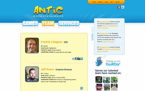 Screenshot of Team Page anticentertainment.com - Team | Antic Entertainment - captured Sept. 30, 2014