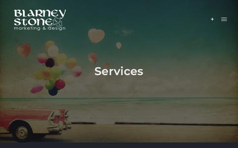 Screenshot of Services Page blarneystonemarketing.com - Services | Blarney Stone Marketing & Design - captured Oct. 6, 2018