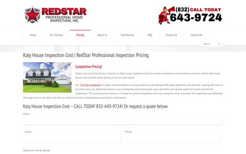 Screenshot of Pricing Page redstarinspections.com - Katy House Inspection Cost | RedStar Professional Home Inspection - captured Oct. 20, 2018
