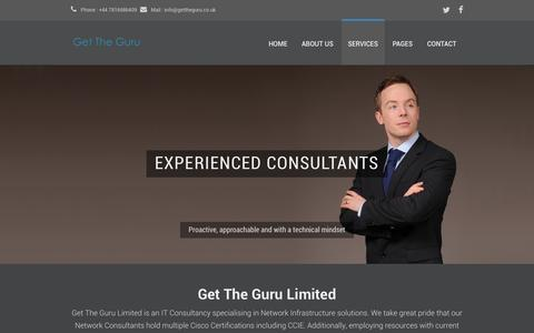 Screenshot of About Page Contact Page Services Page gettheguru.co.uk - Get The Guru - IT Consultancy - captured Oct. 2, 2014
