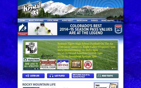Screenshot of Home Page krystal93.com - KYSL | Summit County Colorado | Breckenridge | Keystone | Krystal 93 Radio - captured Sept. 30, 2014
