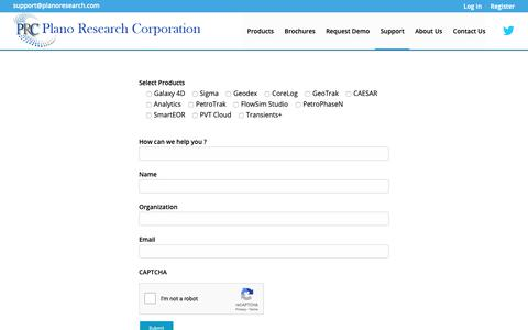 Screenshot of Support Page planoresearch.com - Support - Plano Research: Software Products & Services Company - captured Sept. 28, 2018