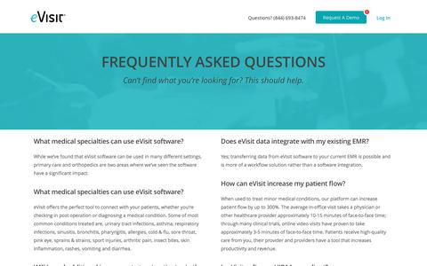 Screenshot of FAQ Page evisit.com - Frequently Asked Questions, Answered. | eVisit® - captured May 24, 2017