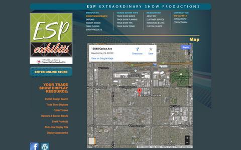 Screenshot of Maps & Directions Page espexhibits.com - MAP: ESP Exhibits - captured Oct. 1, 2014