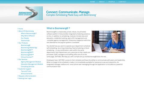 Screenshot of About Page ics-boomerang.com - What is Boomerang® ? | ICS Health – Boomerang Online Scheduling - captured Jan. 26, 2017