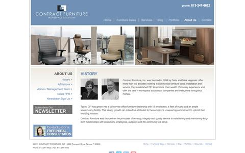 Screenshot of About Page contractfurniturefl.com - History | Contract Furniture - captured Oct. 3, 2014