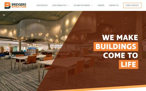 Screenshot of Home Page bpce.com - Bridgers & Paxton | We Make Buildings Come To Life - captured Oct. 6, 2018