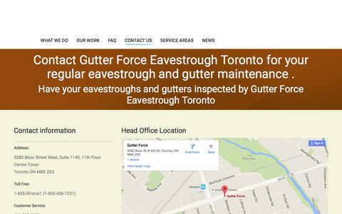 Screenshot of Contact Page gutterforce.com - Contact|Gutter Force|Eavestrough Toronto - captured July 20, 2016