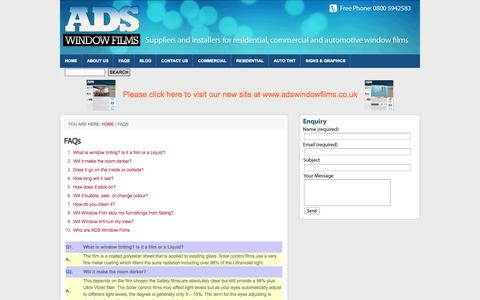 Screenshot of FAQ Page adswindowfilms.com - FAQs | ADS Window Films (UK) - Northwest and Southwest - captured Oct. 4, 2014