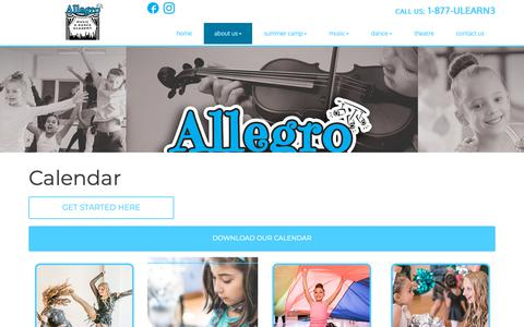 Screenshot of Press Page allegro-academy.com - Calendar | Allegro Music & Dance Academy - captured Oct. 3, 2018