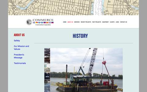 Screenshot of About Page commerceconstruction.com - History — Commerce Construction - captured Nov. 2, 2014