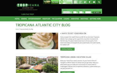 Screenshot of Blog tropicana.net - Tropicana Atlantic City Blog - captured March 18, 2016
