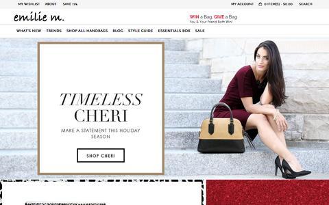 Screenshot of Home Page emiliemshop.com - Emilie M. Online Handbag Store: Shop Totes, Satchels and Other Accessories | Emilie M. - captured Jan. 16, 2016