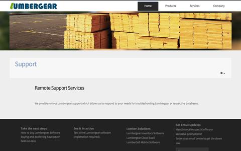 Screenshot of Support Page udatasolutions.com - Lumbergear Business Software: Lumber Inventory Management, Wood Products, Hardwoods, Building Materials - Support - captured Oct. 7, 2014
