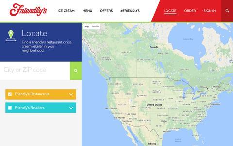 Screenshot of Locations Page friendlys.com - Restaurant and Retail Locator · Friendly's - captured Nov. 25, 2016