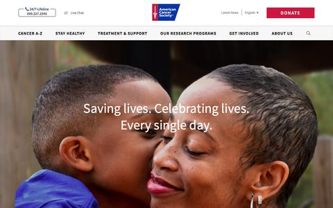 Screenshot of Home Page cancer.org - American Cancer Society | Information and Resources about for Cancer: Breast, Colon, Lung, Prostate, Skin - captured Jan. 18, 2017