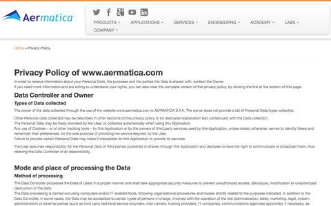 Screenshot of Privacy Page aermatica.com - Privacy Policy | AERMATICA - captured Sept. 30, 2014