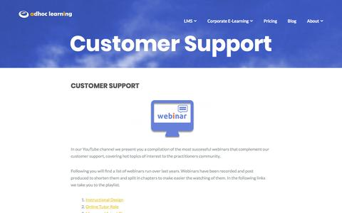 Screenshot of Support Page adhoclearning.com - Customer Support - Adhoc Learning - captured July 29, 2018