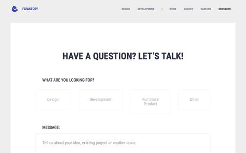 Screenshot of Contact Page fgfactory.com - Fgfactory Game development company contact information - captured Aug. 13, 2018
