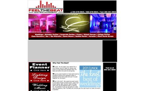 Screenshot of Home Page About Page Site Map Page feelthebeatentertainment.com - Alabama DJs - Alabama DJ's Find Disc Jockeys in Alabama - Anniston - Birmingham -  Dothan - Huntsville - Mobile - Montgomery - Tuscaloosa - captured Sept. 30, 2014