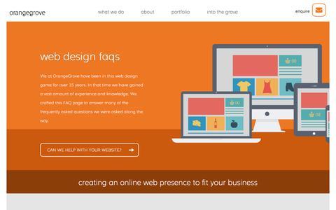 Screenshot of FAQ Page orangegrovedesigns.co.uk - Web Design FAQs | OrangeGrove Web Design Agency Reading - captured Sept. 20, 2018