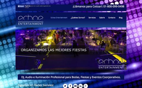 Screenshot of Home Page echoe.mx - Echoe Entertainment - Audio e Iluminación Profesional - captured Oct. 1, 2014