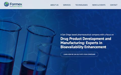 Screenshot of Home Page formexllc.com - Formex - Drug Product Development and Manufacturing - captured Sept. 11, 2015