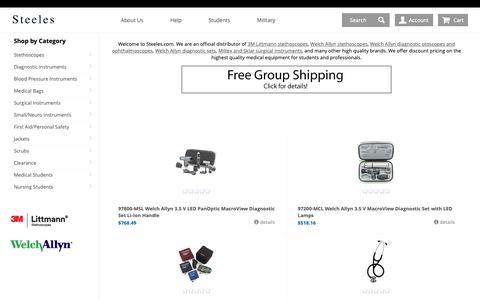 Screenshot of Home Page steeles.com - Welcome to Steeles.com - Discount supplier of Welch Allyn Diagnostic Sets and Littmann Stethoscopes. | Steeles.com - captured Oct. 18, 2018