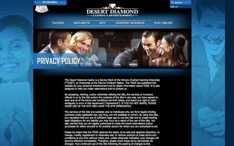 Screenshot of Privacy Page ddcaz.com - Casinos - Gaming - South Arizona - AZ - captured Oct. 5, 2014