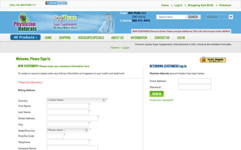 Screenshot of Login Page physiciannaturals.com - Login - captured Nov. 1, 2014