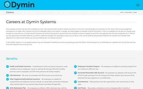Screenshot of Jobs Page dyminsystems.com - Careers - Contact Us | Dymin Systems - captured Oct. 9, 2018