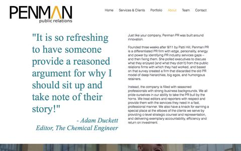 Screenshot of About Page penmanpr.com - About Us | Penman PR - captured July 16, 2018