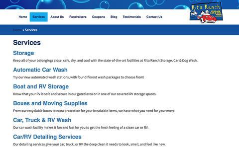 Screenshot of Services Page ritaranch.net - Services - Rita Ranch Storage Car & Dog Wash - captured Nov. 30, 2016