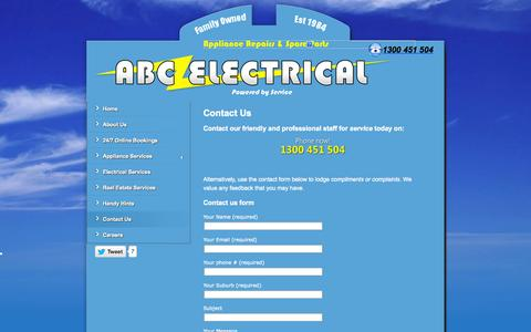 Screenshot of Contact Page abcelectrical.net.au - Contact Us | Call 1300-451-504 for complete in-home electrical and appliance repairs - captured Sept. 30, 2014