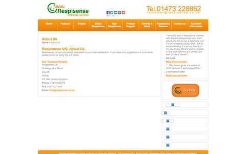 Screenshot of About Page respisense.co.uk - About us - captured Oct. 8, 2014