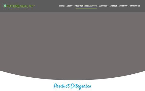 Screenshot of Products Page futurehealthsa.co.za - Product Information   Future Health - captured Nov. 14, 2018